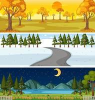 uppsättning av tre olika natur horisontella scener