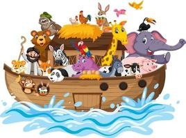 Noahs Arche mit Tieren auf Wasserwelle lokalisiert auf weißem Hintergrund vektor