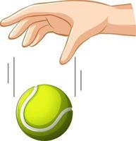 Hand fallender Tennisball für Schwerkraftversuch vektor