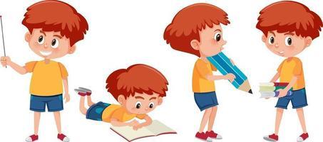 uppsättning av en pojke seriefiguren gör olika aktiviteter