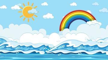 strandlandskap vid dagtid scen med regnbåge i himlen vektor