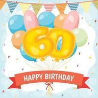 alles gute zum geburtstag feierkarte mit nummer 60 luftballons vektor