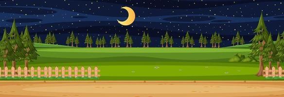 tomt landskap horisontal scen på natten med många tallar