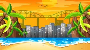 tropisk strandlandskapsplats vid solnedgången med stadsbildsbakgrund vektor