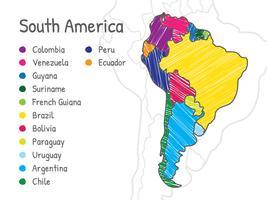 Scribble Südamerika Karte vektor