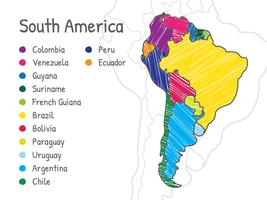 Scribble Sydamerika Karta vektor