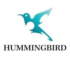blå symbolvektor för flygande kolibri. vektor