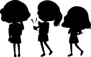 uppsättning barn silhuett seriefigur