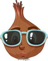 Zwiebel-Zeichentrickfigur mit Gesichtsausdruck vektor