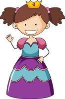 enkel tecknad karaktär av en liten prinsessa vektor