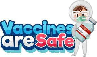 vaccin är säkert typsnitt med läkare som håller covid-19-vaccinet vektor