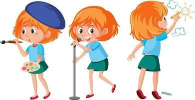 uppsättning av en tjej som gör olika aktiviteter