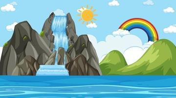 strandlandskap vid dagtid scen med vattenfall vektor