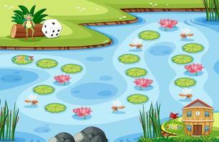 Spielvorlage mit kleinem Frosch und Lotusblatt auf Sumpf im Waldhintergrund vektor