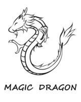 svart vektor av draken eps 10