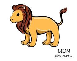 färgvektor av söt lejon eps 10.