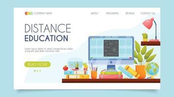 Distans utbildning. målsidakoncept. platt design, vektorillustration. vektor