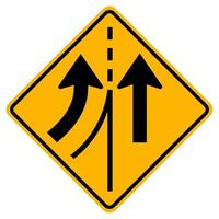 varningstrafikskylt som slår samman vänster körfält