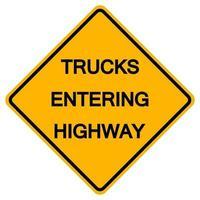 lastbilar som går in på motorvägstrafiksymbolsteckenisolat på vit bakgrund, vektorillustration