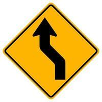 böjd vänster trafik väg symbol tecken isolera på vit bakgrund, vektorillustration