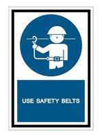 ppe icon.use Sicherheitsgurte Symbolzeichen isolieren auf weißem Hintergrund vektor
