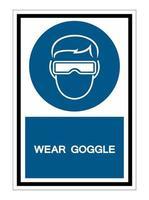 symbol slitage skyddsglasögon tecken isolera på vit bakgrund