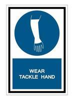 ppe icon.wear Tackle Hand Symbol isolieren auf weißem Hintergrund, Vektor-Illustration eps.10 vektor
