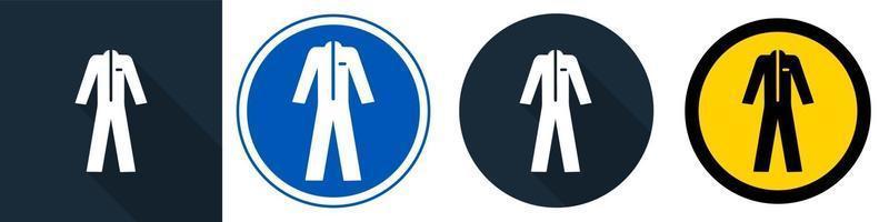 symbol bär skyddskläder på svart bakgrund