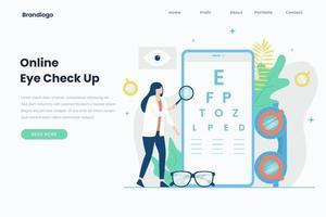 online ögonkontrollmall för målsida vektor
