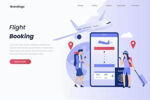 Konzept Illustration Landing Page von Buchen Sie Ihren Flug vektor