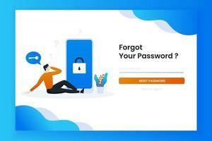 Passwort-Landingpage-Vorlage vergessen vektor