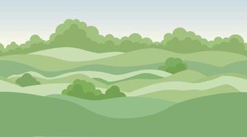 ländlicher Landschaftshintergrund mit Wiesen und Feldern vektor
