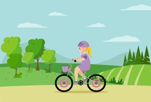 en flicka i en hjälm som rider i parken på bakgrunden av ett fält, träd, berg vektor