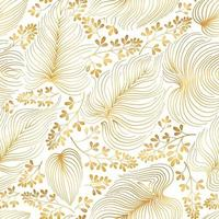 Blumenmuster mit Blättern und Blüten im eleganten chinesischen Retro-Stil. abstrakter nahtloser festlicher Blumenlinienhintergrund. blühender dekorativer goldener Garten mit blühendem orientalischem Naturmotiv vektor