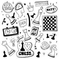Doodle Set Schach. Cartoon-Illustration über Scheck und Kumpel. Strategiekonzept vektor