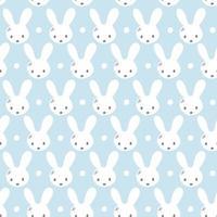 nahtloses Muster mit niedlichen Kaninchenmündungen, flacher handgezeichneter Stil. geometrische Verzierung mit kleinen Hasen. Kätzchen hübsche Köpfe mit kleinen Ohren. Muster-Vektorillustration der Rautengierart vektor