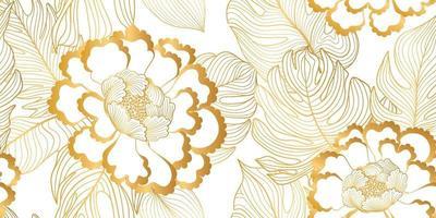nahtloses Blumenmuster. Blumenhintergrund. florale nahtlose Textur mit Blumen und Blättern im ostasiatischen Stil. gedeihen geflieste Tapete vektor