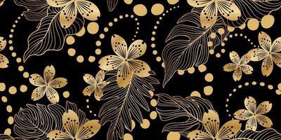 nahtloses Blumenmuster im östlichen Stil. Blumenhintergrund. gedeihen Garten Textur mit Blumen. vektor