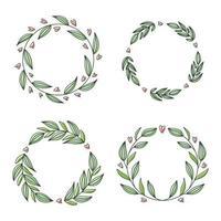 Blumenkranz-Sammlung, handgezeichnete Vektorillustration lokalisiert auf Weiß. dekorative runde Rahmen mit Blumen und Blättern, Tuschenskizze für Hochzeitsereigniseinladungen. vektor