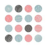 Sammlung von kreativen abstrakten geometrischen Social-Media-Highlight-Covers. Design-Geschichten runde Icon-Sammlung. Flecken, Wellen, Streifen, Spiralen, Punkte, Linien, Schecks und andere Muster. Vektor-Illustration