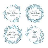 Speichern Sie das Datum Hochzeit Monogramm Blumenkranz Sammlung, handgezeichnete Vektor-Illustration. Satz runde Blumenrahmen, handgezeichnet für Hochzeitszeremonie Einladung. vektor