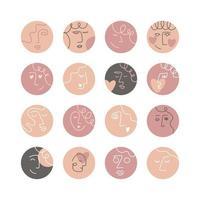Sammlung von kreativen Social-Media-Highlight-Covers, Schönheit, Liebe, Psychologie-Thema. Design Geschichten runde Ikonensammlung. abstrakte weibliche und männliche Gesichter, Köpfe, Haare, Herzen. Vektorillustration