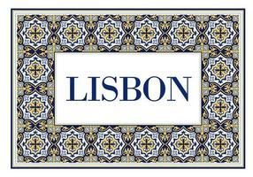 Stadtschild von Lissabon mit Rahmen der traditionellen portugiesischen Verzierung von Azulejos. Reisehintergrund mit Musterkeramik von Portugal. vektor