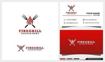 Grill-Grill-Logo-Design mit Visitenkartenschablonensatz vektor