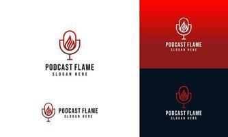 Mikrofon-Podcast-Logo-Design mit Feuerflammenkonzept und Visitenkartenschablone vektor