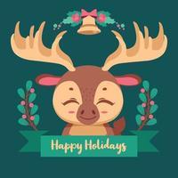 Weihnachtsillustration mit einem niedlichen Elch und festlichem Banner vektor