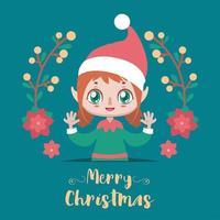 Weihnachtsillustration mit einem niedlichen lustigen Elfenmädchen vektor
