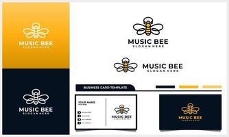 Honigbiene mit Kopfhörer, Kopfhörer-Logo-Konzept und Visitenkartenschablonensatz vektor