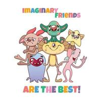 lustige vielfältige bunte Gruppe von imaginären Monsterfreunden vektor
