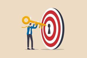 Schlüssel zum Erfolg und Erreichen des Geschäftsziels, kpi, Karriereerfolgs oder Erfolgsgeheimnis im Arbeitskonzept, Geschäftsmann, der den goldenen Schlüssel in den Bullseye-Zielschlüssel hält, um den Geschäftserfolg freizuschalten. vektor